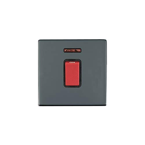 Hamilton LiteStat 88C45NB - Interruptor basculante con neón, negro y níquel