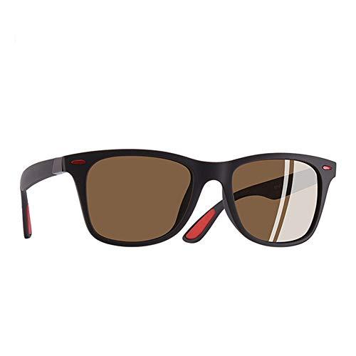 GJDBBLY Occhiali da sole Occhiali da sole polarizzati ultraleggeri Uomo Donna Guida Occhiali da sole stile quadrato Occhiali maschili Uv400 145mm C4 Marrone opaco