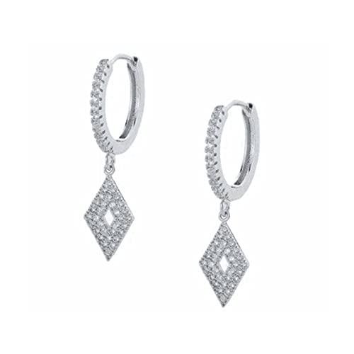 Pendientes de aro de plata de ley 925 de moda de lujo para mujer, pendientes de aro de circonita con flor y luna, pendientes de joyería, pendientes