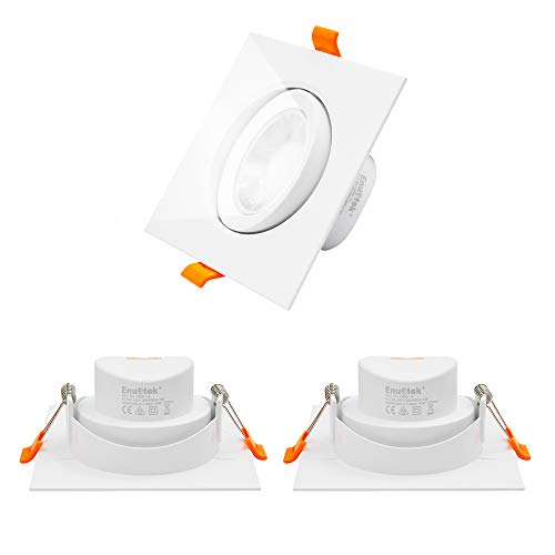 Lamparas Focos Downlight LED Empotrables Orientables Techo Interior Cuadrados 9W 800Lm 40° Ángulo Luz Fria 5000K Agujero de Techo Diámetro 90-100MM No Regulable Lot de 3 de Enuotek