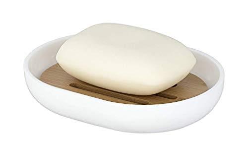 WENKO Seifenablage Posa Weiß - Seifenschale, Kunststoff, 12 x 2.5 x 9 cm, Weiß