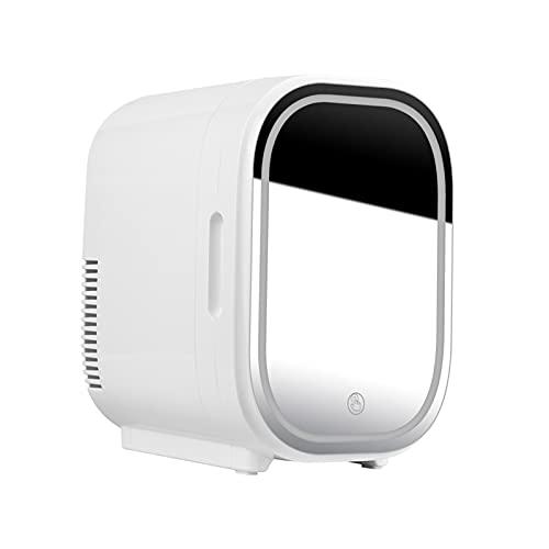 JQAM Mini refrigerador con iluminación LED, 8L, Belleza Personal, Maquillaje, cosméticos, refrigerador con Espejo, Enfriador Compacto, Calentador para Dormitorio, Oficina, Dormitorio (Color : White)