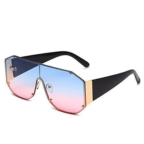 DAIDAICDK Gafas de Sol cuadradas de Gran tamaño Mujeres Hombres Gafas de Sol gradiente de Metal UV400 Gafas de Viaje para Exteriores