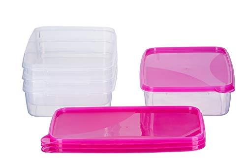 MiraHome Frischhaltedose Gefrierbehälter 2l rechteckig flach 28x18x6,5cm 4er Set pink Austrian Quality