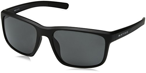 Native Eyewear Wells Sunglass, Matte Black Crystal, Gray