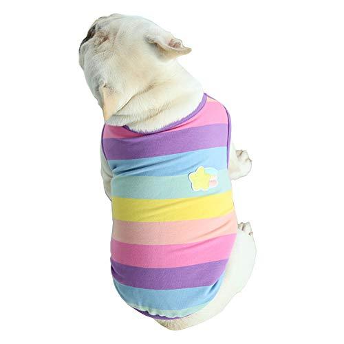 Hdwk&Hped Small Medium Dog Shirt Soft Cotton Pet Pajamas Vest Style for Fat Dog French Bulldog Corgi Pug Multi-Colored Rainbow Style #2