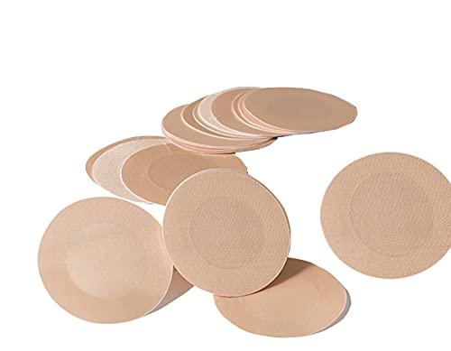 WELLQUA Mujer 10 Pares Desechable Pegatinas Pezón Pezoneras,Resistente al sudor y transpirable (Beige-2)