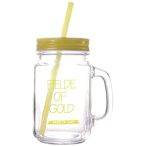 Sunsdew Juego de Vasos de Vidrio para Beber Pasado de Moda de 450 Ml, Tazas para Batidos, Tarros para Beber con Asa y Pajitas (Amarillo)