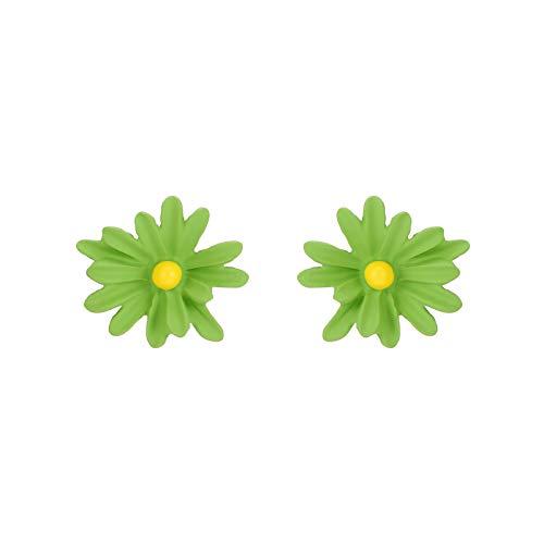 ZHOUBAA Pendientes de moda para mujer, 1 par de pendientes de diseño de flores de aleación hechos a mano, Zinc,