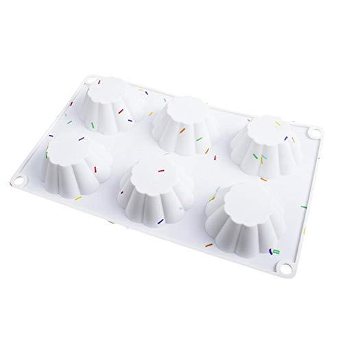 Wonderday siliconen vorm voor chocolade, ijsblokjes, gelei, pudding, silicone vorm met 6 holle ruimtes, bakvorm voor het maken van chocolade, cake, mousse, keukenbakvorm, siliconen bakvorm, well-liked