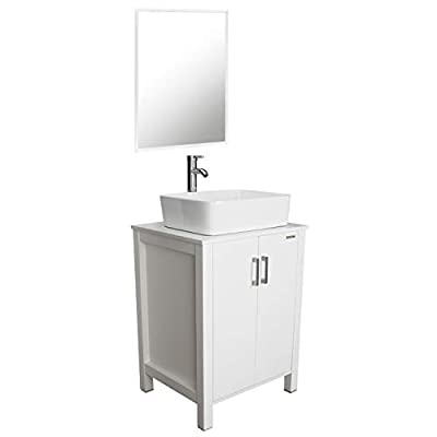 """eclife 24"""" Bathroom Vanity Sink Combo White Cabinet Vanity White Ceramic Vessel Sink and Chrome Bathroom Solid Brass Faucet and Pop Up Drain, W/Mirror (T03B04W)"""