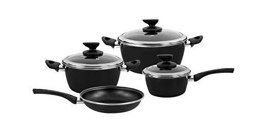 Magefesa Esp-Fit - Batería de Cocina 7 piezas. Material acero vitrificado exterior negro. Antiadherente bicapa Reforzado. Apta para todo tipo de cocinas, especial inducción. 50% de ahorro energético.