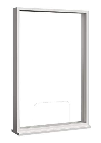 Écran de Protection - 3 mm plexiglas pour bureaux | Protection contre les éternuements pour comptoir caisse | cadre en bois laqué | Bouclier en plexiglas incolore - plaque séparateur de bureau