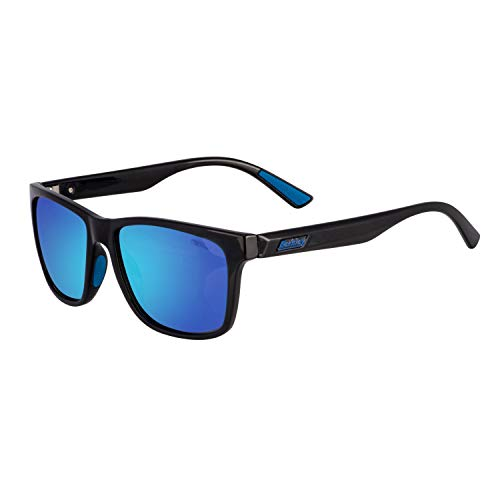 Berkley Ber003 Sunglasses Ber003 Polarized Fishing Sunglasses, Gloss Black/Smoke/Blue Mirror