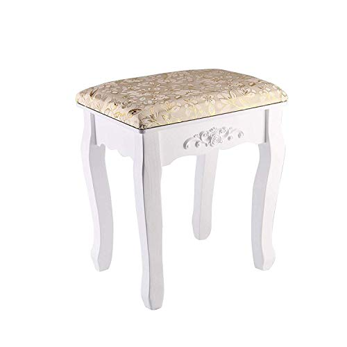Queiting Makeup Stool Dressing Table Stool Makeup Table Stool Fashion Fabric Art Simple Shoe-changing Stool Nail Stool Fabric Art Cushion European Style Wooden,37x28x44CM