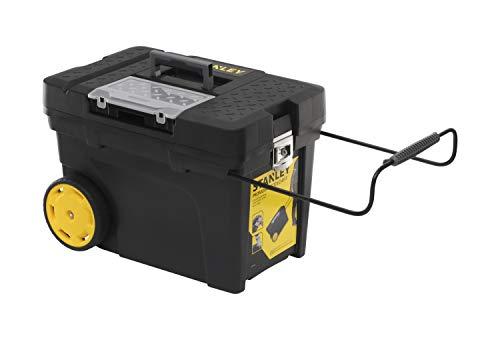 Stanley 1-97-503 Mobiele montagebox (60,3 x 37,5 x 43 cm, volume 53 l, ruim hoofdvak voor elektrisch gereedschap, antislip telescoophandvat, uittrekbare draag)