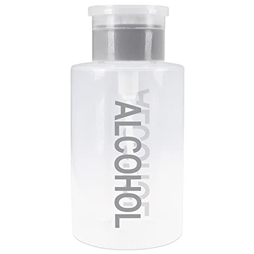 Liquid Push Down Alcohol Dispenser- Clear Bottle- Labeled - 9 Oz Bottle