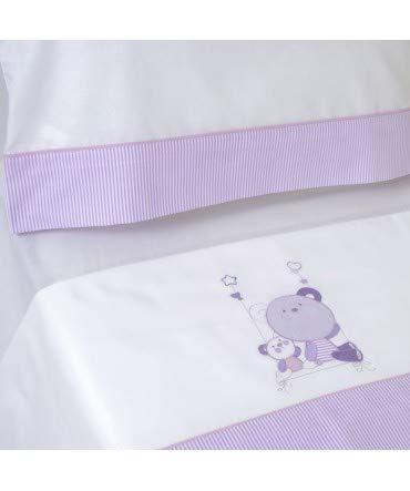 10XDIEZ - Set di lenzuola per culla, serie 121, colore bianco/lilla Cuna (60x120cm)