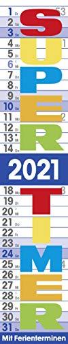 Supertimer 2021: Streifenkalender mit Datumsschieber, Ferienterminen und Spiralbindung I schmal im Format: 17 x 85 cm