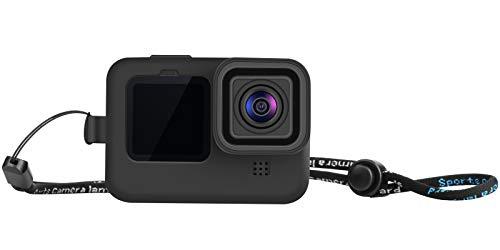 LARRITS Carcasa de silicona + correa + protector de pantalla de cristal y protector de lente para GoPro Hero 9 Black