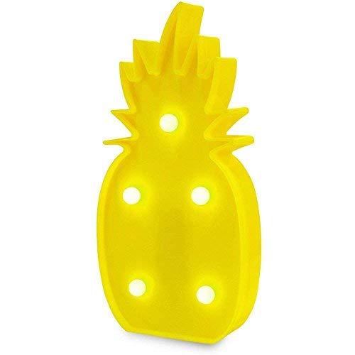QiaoFei 3D, Luz de decoración en forma de piña, lámpara LED de mesa de piña tropical 3D Light Up, amarillo