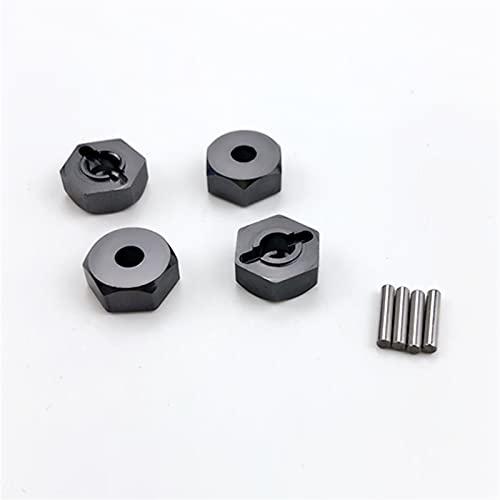 Sankuai 4pcs 12 mm de Roue en Aluminium écrou Hexagonal avec Broches HUBS 4P HSP 102042 1/10 Pièces de Mise à Niveau pour Une Voiture RC 4WD (Couleur : Titanium)