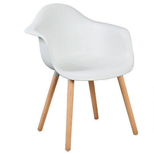 LLIVEKIT Esszimmerstühle,Schalenstuhl mit Armlehnen,1x Retro Stück Esszimmerstuhl mit Lehne Design und Holz Bein für...