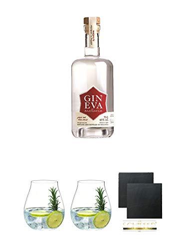 Eva Gin Mallorca 0,7 Liter + Gin Tonic Glas - 5414/67 + Gin Tonic Glas - 5414/67 + Schiefer Glasuntersetzer eckig ca. 9,5 cm Ø 2 Stück