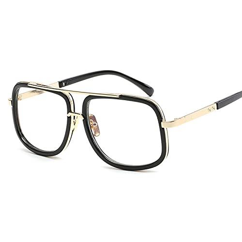 Gafas De Sol Clásicas De Gran Tamaño para Hombre, Marca De Lujo, para Mujer, Mach One, Gafas De Sol Cuadradas, Retro, para Hombre, Uv400, Espejo, 7-Negro-Transparente