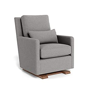 Monte Design Upholstered Modern Nursery Como Glider Chair, Light Grey Wool