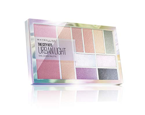 Maybelline New York City Kit Palette Ombretti Total Look Urban Light, Set con 8 Ombretti, 1 Blush e 1 Illuminante Viso