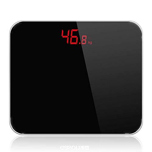 BXU-BG Balanza de precisión báscula de baño, balanza de Peso Corporal Inteligente electrónica Digital con Pantalla LCD, 180Kg 400 Libras Negro /
