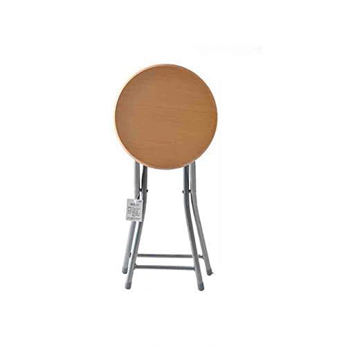 XXHDEE Runder Klappstuhlhocker Familienfrühstück Zhuo Deng hochwertige Holzmaserung Klappstuhl Set (Color : Wood Color)