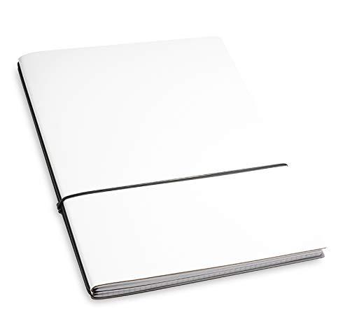 A4+, revolutionäres X17-Notizbuch/Personal Organizer! Recyceltes Leder, weiß; Inhalt: 2 Notizhefte (blanko, kariert) + Buchband; austauschbar=nachhaltig! 17 Jahre Garantie*