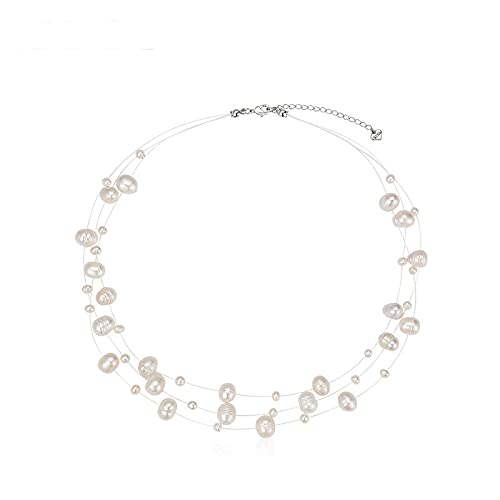 Tondar New Natural Freshwater Pearl Necklace Baroque Pearl Jewelry Women's Party Wedding not Show Steel Accessories 7