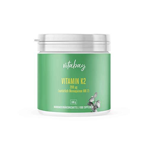 Vitamina K2 con dextrosa MK7 200 mcg - 99,99% de forma trans - Cis 0% - Polvo vegano 250 porciones