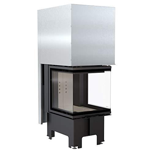 KRATKI Kamineinsatz NBC | Heizeinsatz 8kW | 147 x 57,6 cm | Eckkamin mit dreiseitiger Feuersicht | Doppeltüröffnungssystem Guillotine nach links & rechts | 2.BimSchV 15a B-Vg | Ideal für Zuhause