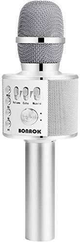 Microfono Karaoke Wreless Bluetooth BONAOK, 3-in-1 Palmare Portatile Karaoke Mic Regalo di Compleanno Altoparlante per Feste a Casa per iPhone/Android/iPad,PC Smartphone (Argento)