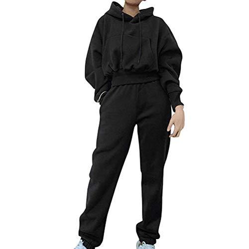 Chándal deportivo para mujer con capucha, camiseta de manga larga y pantalones largos para deportes, correr, yoga o gimnasio.