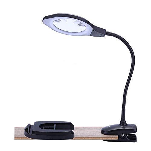 HJXSXHZ366 loep met 2 x 4 x bureau- en clamp-on 2-in-1 loep, leesloep met standaard, daglicht, heldere LED-lampen en flexibele zwanenhals voor hobbys, knutselwerk, werkbanken, diamantkunst