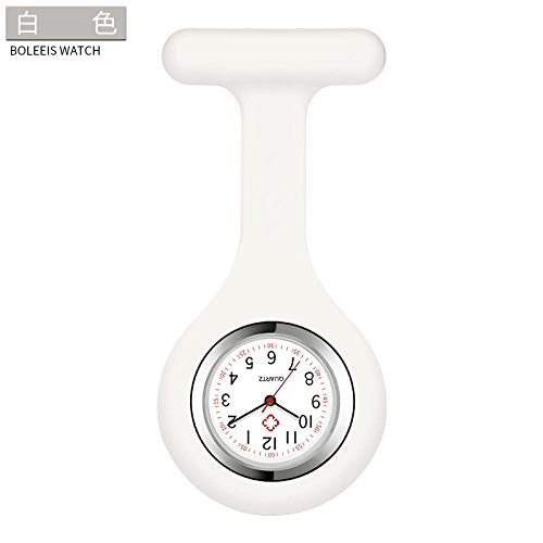 Cxypeng Reloj de Bolsillo Reloj Médico,Tabla de enfermería de Silicona Tabla de Pared médica Reloj de Bolsillo de Estudiante Cofre Impermeable Mesa-Blanco,Enfermera Broche de Reloj