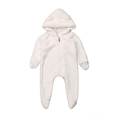 Carolilly Pijama con capucha para bebé o niña, disfraz de oso polar muy bonito blanco 100 cm