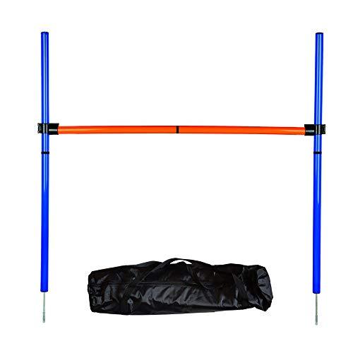 MelkTemn Pets Set per addestramento Agility Dog Sport, Kit AGILITÀ Esercizio Starter, Hoop Salto Bar, Arancione/Blu (Hurdle)