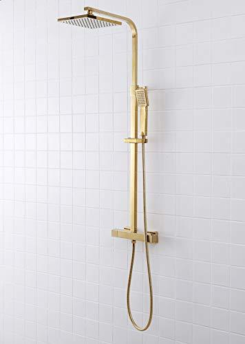SCHWÄNLEIN Anti-Kalk Duschsystem mit Thermostat Regendusche Duschset Duscharmatur Duschsäule (messing Gold)