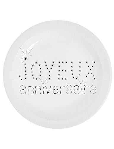 SANTEX 4007-1, Sachet de 10 assiettes de 23 cm collection Anniversaire blanc