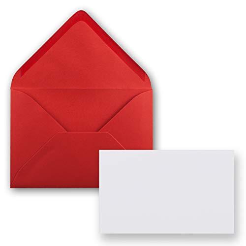 25x Stück Karte mit Umschlag Set Einzel-Karten Din A8 7,1x4,5 cm Hochweiß mit Brief-Umschlägen C8 7,6x5,2 cm Rot Nassklebung