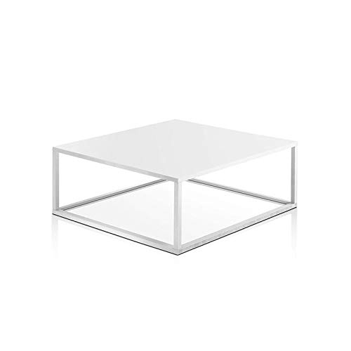 Alfa Sofa Small Square Coffee Table for Living Room Industrial Saturn Style 100 x 100 x 40 x 40 cm Bianco