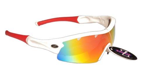 Rayzor Professionnel léger UV400 Blanc Sport Wrap Course Lunettes de Soleil, avec Un 1 Piece ventilé Rouge Iridium Miroir Anti-éblouissement Lens.