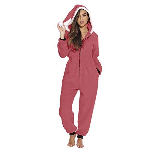 Vrouwen Kerst Pluche Jumpsuit Dames Zachte Badjas Winter Slaapmode Sets Casual Zip Hooded Pluche Winter Slaapmode Sets