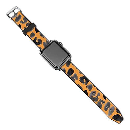Compatible con Apple Watch Band de 38 mm y 40 mm, diseño de safari Jaguar de acuarela, correa de repuesto de silicona suave, compatible con iWatch Series 5, 4, 3, 2, 1